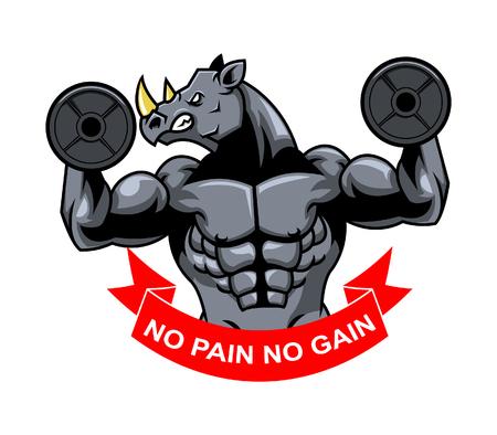 sport club: vector illustration of rhinoceros show his big arms Illustration
