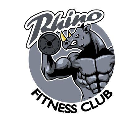endangered species: vector illustration of rhino fitness club