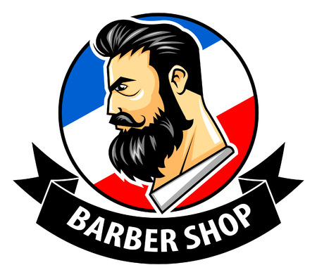 pomade: Vector illustration of barbershop with ribbon logo