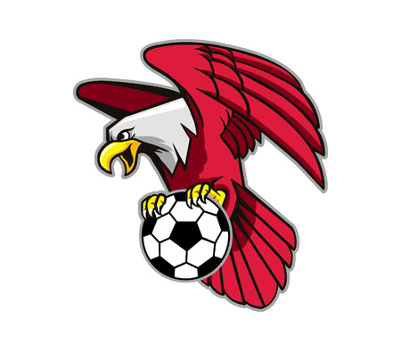 ballon foot: Vector illustration of flying bald eagle grab soccer ball.