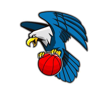 eagle flying: Vector illustration of flying bald eagle grab basketball.