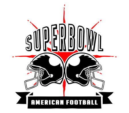 superbowl: Vector illustration of Superbowl and American football badge in manual drawing style Illustration