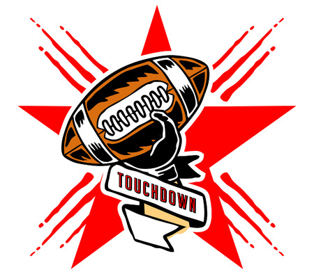 toughness: Vector illustration of touchdown badge in manual drawing style.
