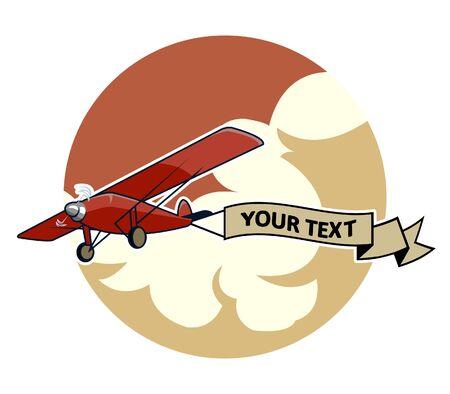 dragging: vector illustration of classic airplane dragging blank ribbon