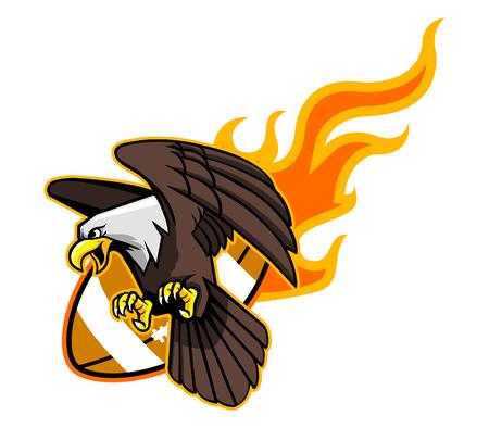 aguila calva: Ilustración del vector del vuelo del águila calva y la llama de fútbol.