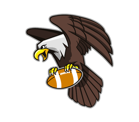 wilderness area: Vector illustration of flying bald eagle grab football.