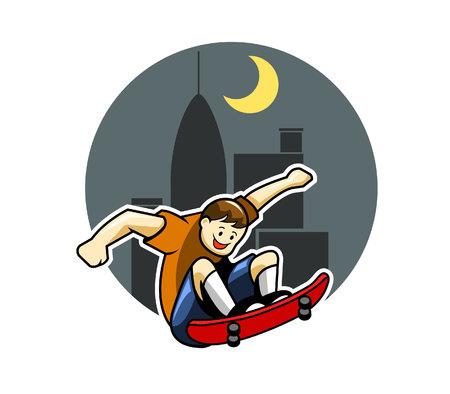 skater boy: Skater boy And Big City Night Background Illustration