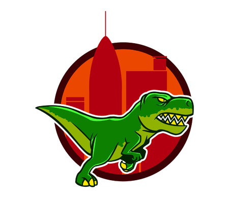city background: Running Dino And Big City Background