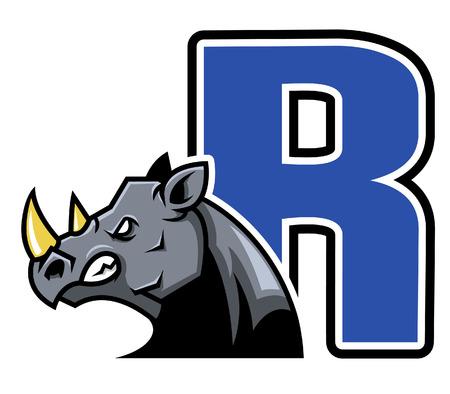 endangered species: Rhino Initial Illustration