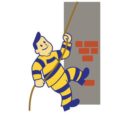 sentencing: A vector illustration of escaping prisoner from the jail. Climb the wall using rope.