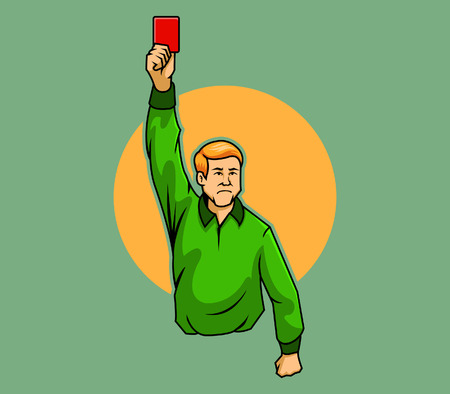 picking up: A referee raising his hand with a red card