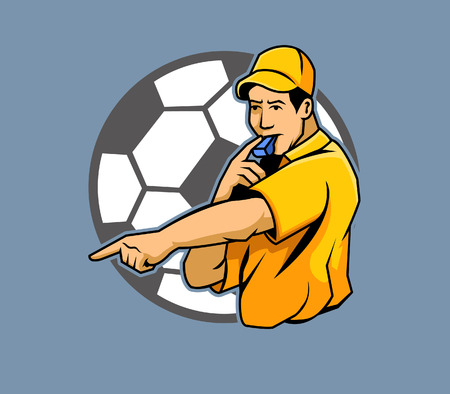 punishment: Referee, Soccer, Sport, Whistling, Cartoon, People, Authority, Pointing, Thumb, Animal Finger, Human Finger, Team, Blowing, Illustration, Men, Vector, Characters, Punishment, Match, European Union Currency, Euro Symbol, Uefa Illustration