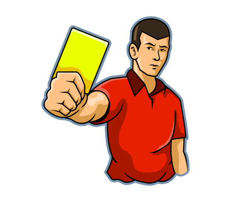 hand holding playing card: A referee raising his hand with a yellow card