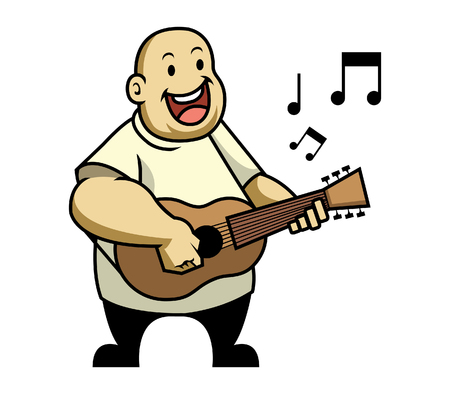 overweight kid: Fat kid singing and playing guitar Illustration
