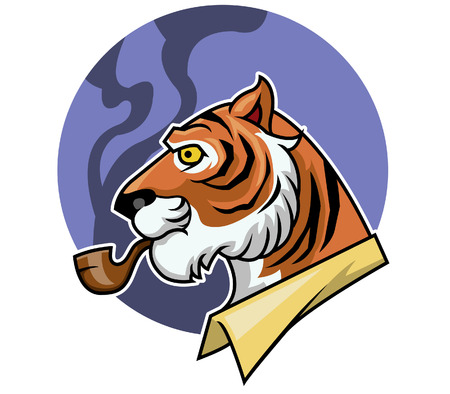 cat suit: Vector illustration of tiger and smoking pipe Illustration