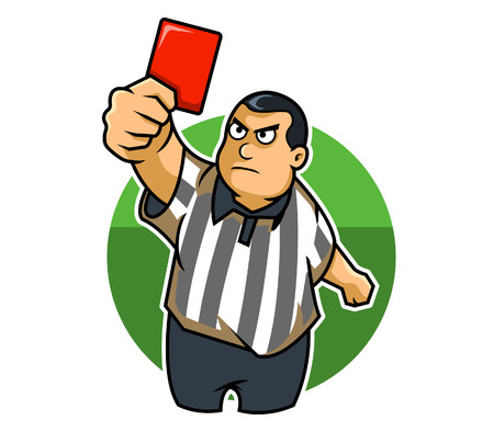 fat kid: A fat kid raising his hand with a red card Illustration