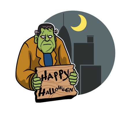 Frankenstein And City Background Illustration