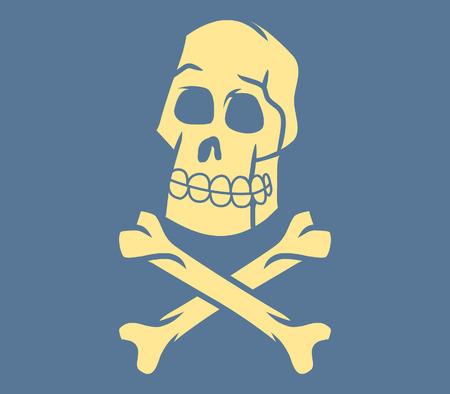 cross bone: Skull And Cross Bone In Retro Style