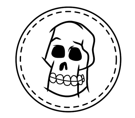 animal body part: Skull And White Circle Patch