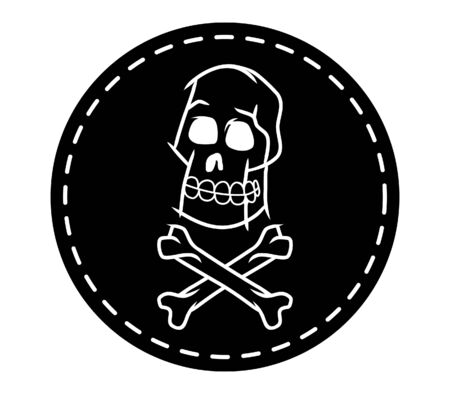 cross bone: Skull And Cross Bone Circle Patch