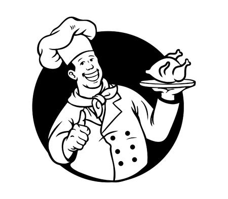 Chef Cooking Fried Chicken Black White