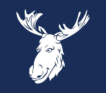 tusk: Vector illustration of big horn forest deer silhouette
