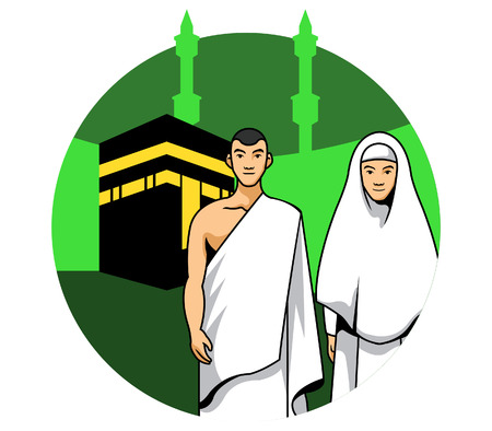 Vector illustration of a hajj couple in front of Kaaba