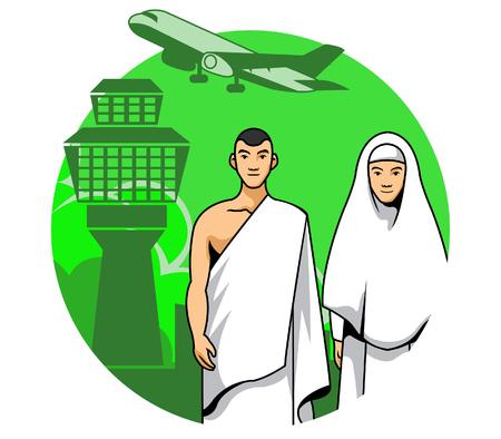 Vector illustration of a hajj couple ready to go Mecca for pray. Illustration