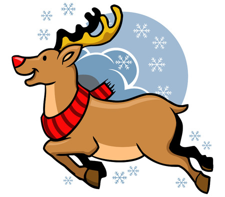 Vector illustration of flying Rudolph red nosed
