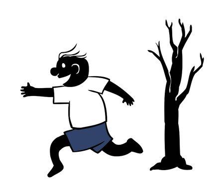 Boy Playing Catch Run