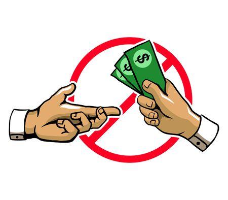 Anti Corruption Hand Sign Illustration