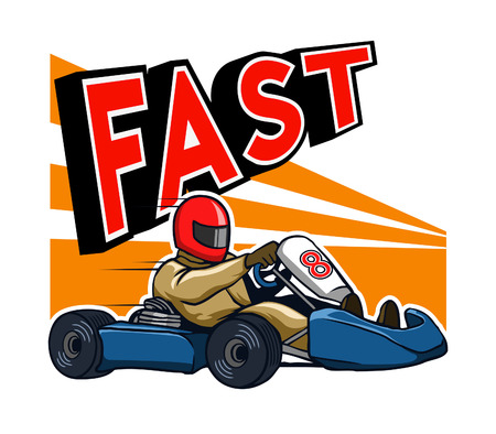 Running Fast Gokart Illustration