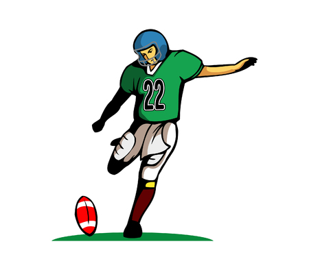 kick ball: Kick Ball Pose Illustration
