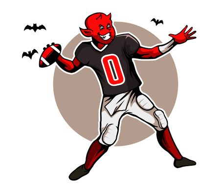quarterback: Devil Quarterback Illustration