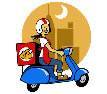 Fried Chicken Courier Illustration