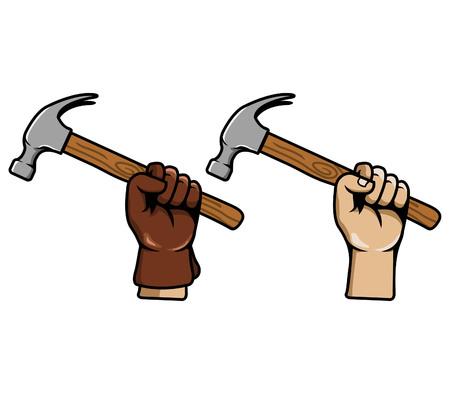 Vector illustration of hand grab hammer Illustration