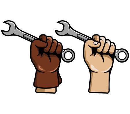 Vector illustration of hand grab wrench Illustration