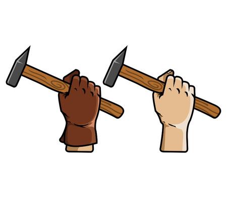Vector illustration of hand holding schlosser hammer