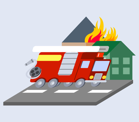 A vector illustration of firefighter truck flat skew icon.