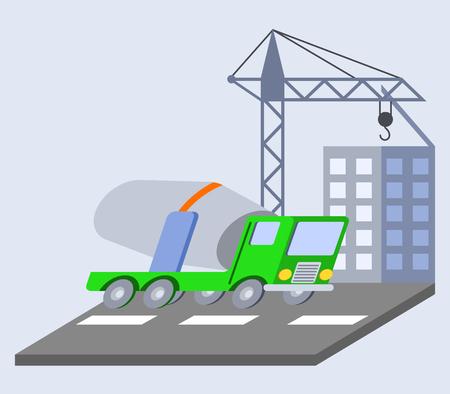 Illustration of concrete mixer truck flat skew icon Illustration