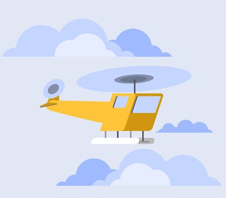 distort: vector illustration of  orange copter flat skew icon Illustration
