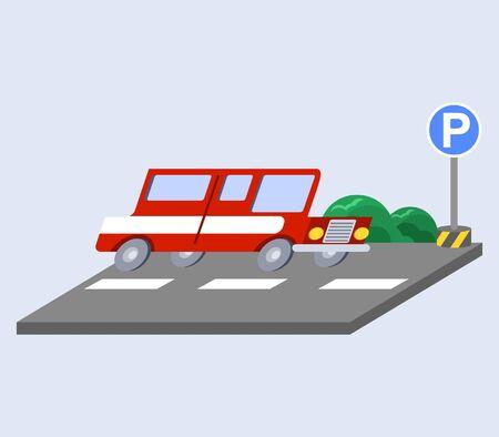 Vector illustration of red car flat skew icon Illustration