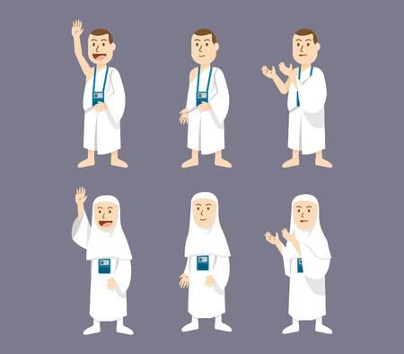 hajj pilgrimage character Illustration
