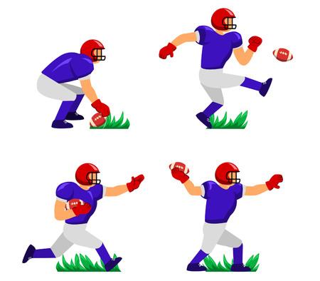 Vector illustration character of American Football player Vector Illustration