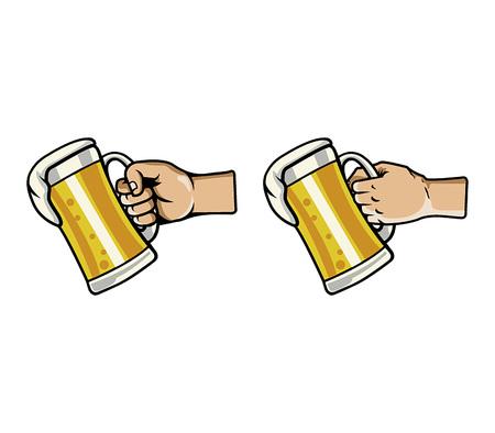 grabing: Vector illustration of hand grabing glass of beer