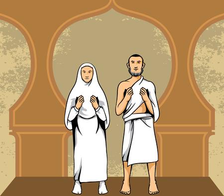 Vector illustration of hajj pilgrim praying