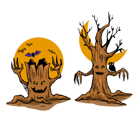 Vector illustration of ghost tree. Vector stock for Halloween theme. Illustration