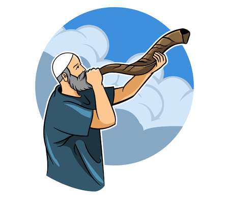 A religious man blowing a shofar