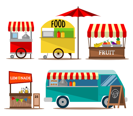 Vector illustration collection of street food seller Иллюстрация