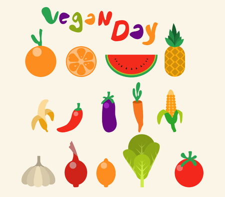 Vector collection flat color of fruit and vegetable